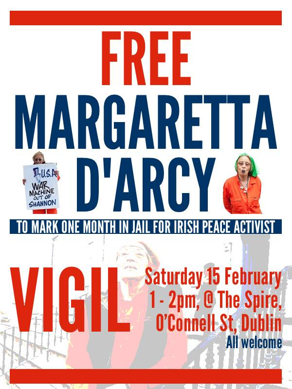 Free Margaretta D'Arcy Vigil to mark Margaretta spending one month in jail for peace activism
