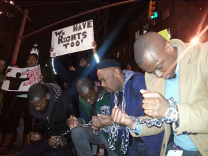 New Yorkers protesting the lack of accountability in the police killing of Mike Brown